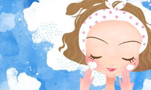 洁面护肤女孩人物插画创意分层素材