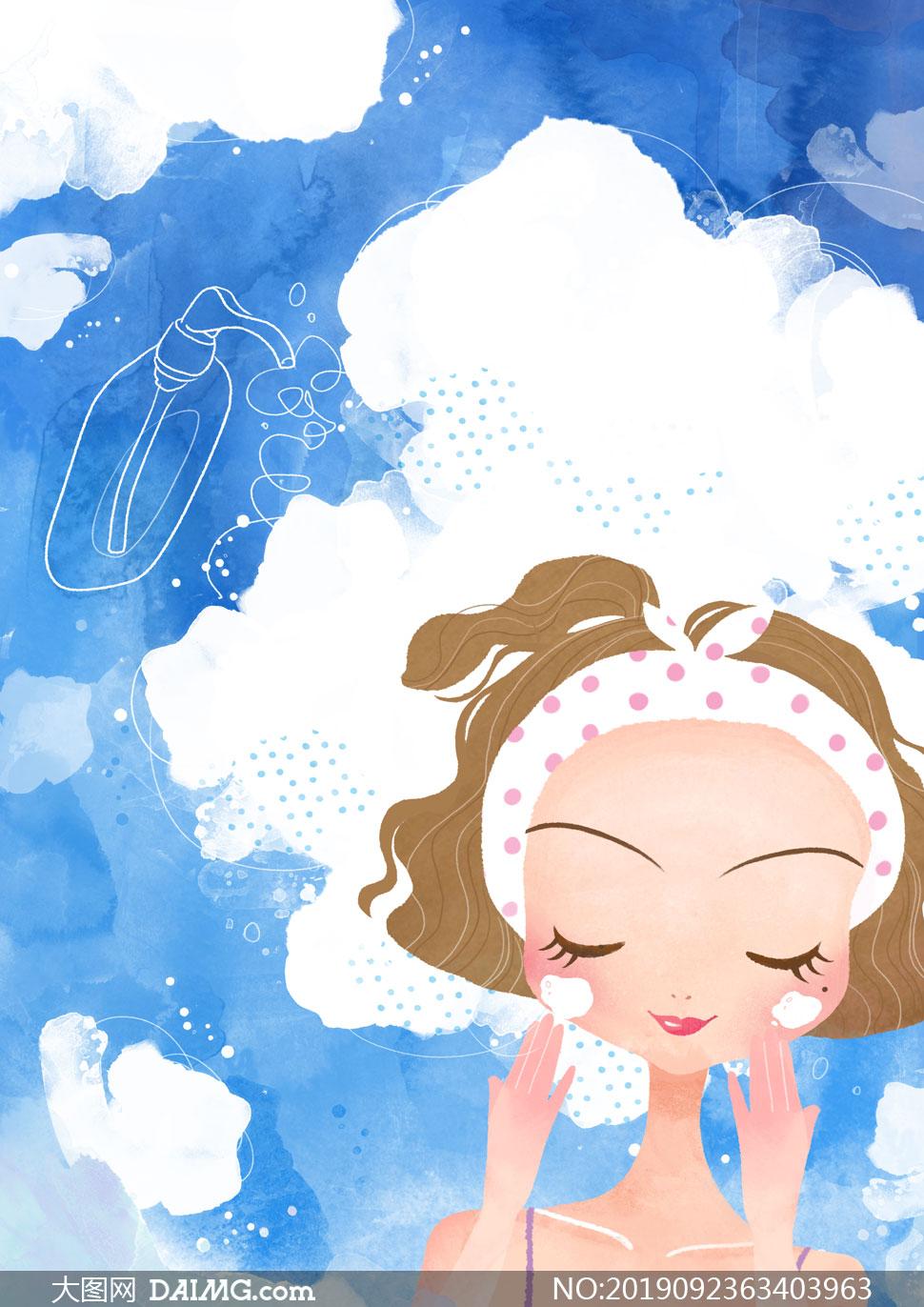 潔面護膚女孩人物插畫創意分層素材