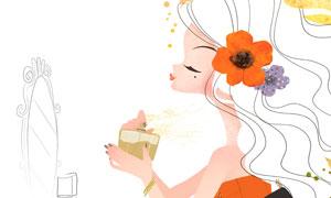 喷香水的长发美女插画创意分层素材