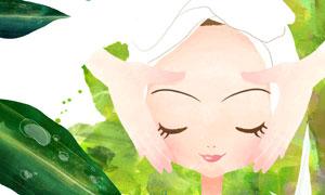 面膜按摩护理美女插画创意分层素材