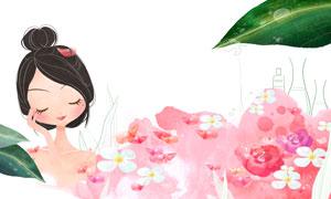 在泡鲜花温泉浴的美女插画分层素材