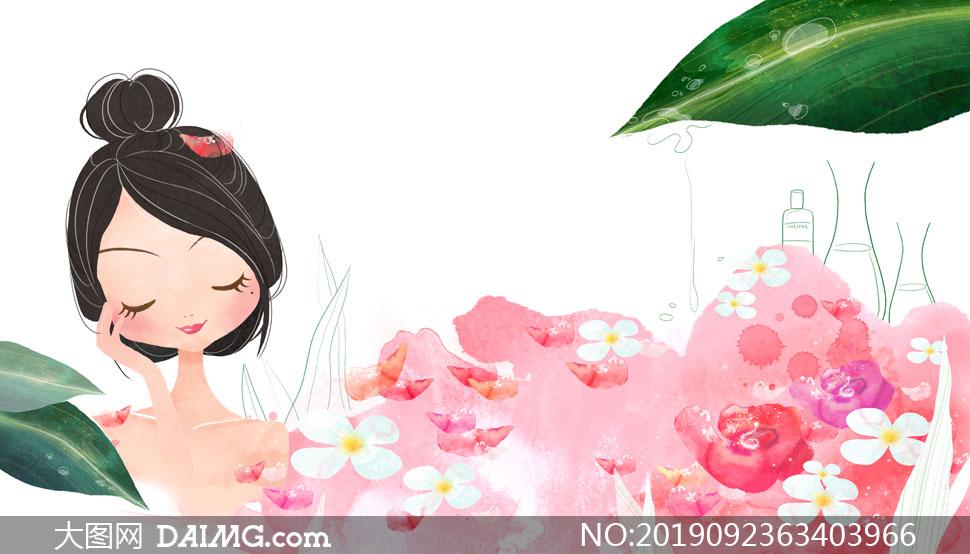 在泡鮮花溫泉浴的美女插畫分層素材