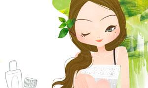 涂护肤乳的吊带裙美女插画分层素材
