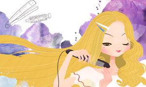 在用卷发棒的长发女孩插画分层素材