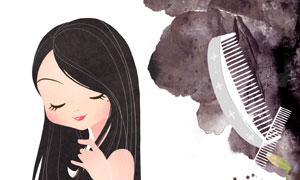 一梳到底黑发美女人物插画分层素材