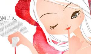 水彩元素手绘美女插画创意分层素材