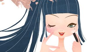 化妆的马尾发女孩手绘插画分层素材