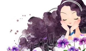 在闻着花香的护肤美女插画分层素材