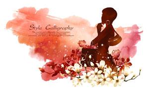 花朵花纹与美女剪影等创意分层素材