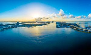 美国迈哈密海边城市夕阳美景摄影图片