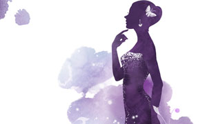 思考著什么的美女人物創意分層素材