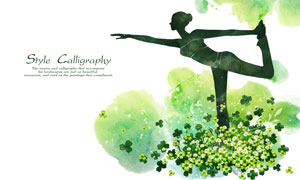 花叢中的瑜伽運動美女創意分層素材