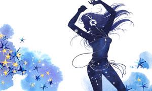 開心舞蹈美女人物剪影創意分層素材