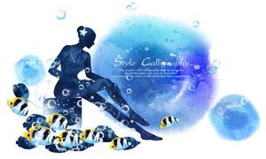 美女剪影與吐著泡泡的魚群創意素材