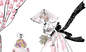 蛋糕與婚紗打扮的美女插畫分層素材
