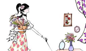 牽著狗的美女人物插畫設計分層素材