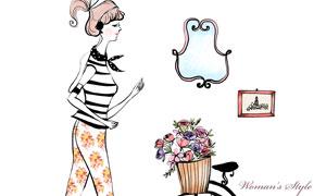 鮮花兩輪車與美女人物插畫分層素材