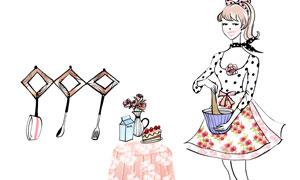 厨具与在吊灯下的美女插画分层素材