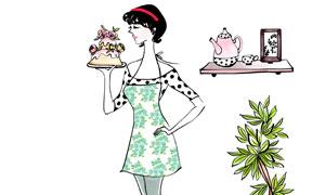 手托著蛋糕的美女繪畫創意分層素材