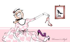 面前摆了高跟鞋的美女插画分层素材