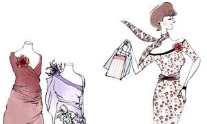 手提袋礼物盒与美女人物等分层素材