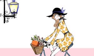 脚踩自行车的裙装美女插画分层素材