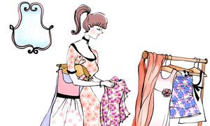 在收拾整理衣服的美女插画分层素材