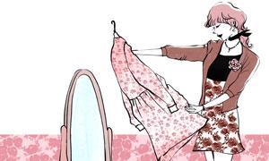 在端详裙子的时尚美女插画分层素材