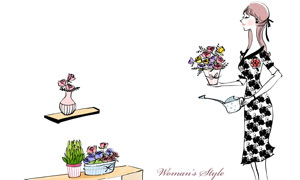 给盆栽花卉浇水的美女插画分层素材