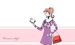 行李箱与时尚服饰美女插画分层素材