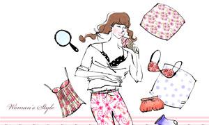 休闲服饰装扮美女人物插画分层素材
