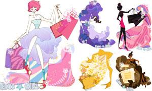 购物美女人物主题创意插画矢量素材