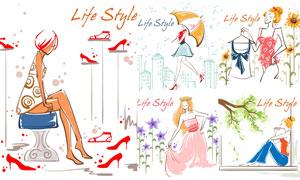 时尚服饰模特人物创意设计矢量素材