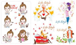 化妆护肤与时尚美女等插画矢量素材