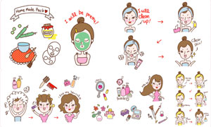人物与护肤化妆用品等创意矢量素材
