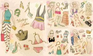 美女人物时尚服饰创意插画矢量素材