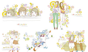 几何元素装饰女孩插画创意矢量素材