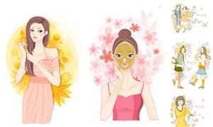 圆形图案装饰人物插画创意矢量素材