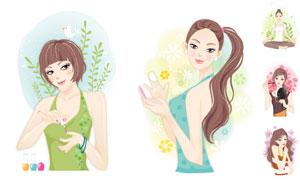 瑜伽与护肤化妆的美女插画矢量素材