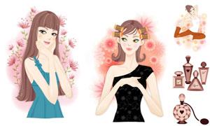 花朵香水与美女等插画创意矢量素材