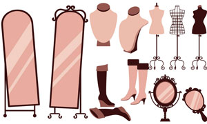 穿衣镜与铁艺衣架长靴主题矢量素材