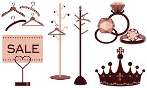衣架钻戒与皇冠等主题设计矢量素材