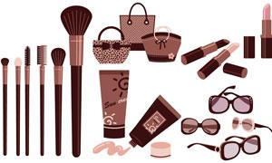 包包墨鏡與防曬乳唇膏物品矢量素材