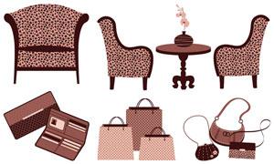 手提袋與椅子證件夾等物品矢量素材