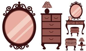 鏡子臺燈與凳子等物品主題矢量素材