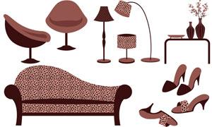 凉鞋花瓶与沙发落地灯主题矢量素材