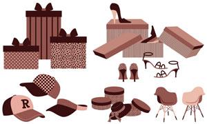 帽子椅子與高跟鞋物品主題矢量素材