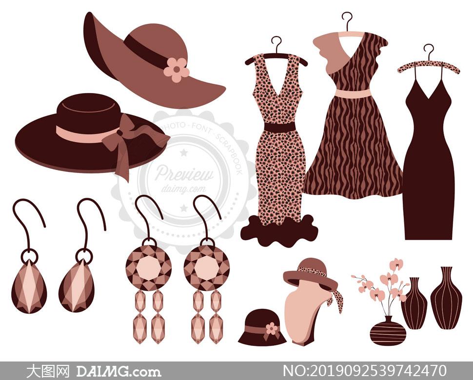 帽子服饰与首饰花瓶等主题矢量素材