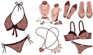 鉆石項鏈與泳裝鞋子等物品矢量素材