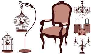 鳥籠椅子與吊燈拉桿箱主題矢量素材